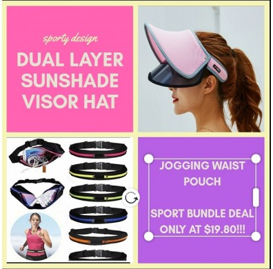 SPORTY DUAL SUNVISOR HAT & JOGGING WAIST POUCH PACKAGE DEAL