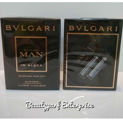 Bvlgari Man In Black The Refillable Travel Spray - 3 X 15ml EDP Spray