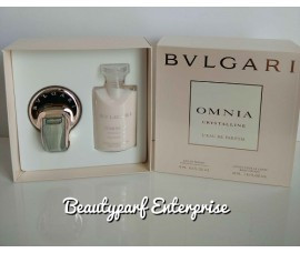 Bvlgari Omnia Crystalline L'eau De Parfum 15ml EDP Spray + 40ml Body Lotion Set