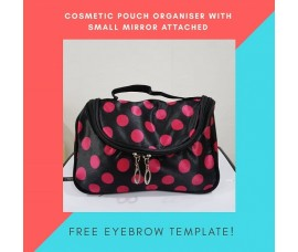 Cosmetic Makeup Case Pouch Toiletry Wash Organizer + Free Eyebrow Template