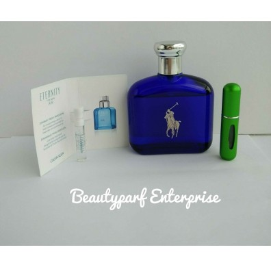 Ralph Lauren Polo Blue Men In 5ml Refillable Spray + Free CK Eternity Air Men 1.2ml EDT Spray - HOT BUY!