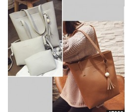 3PCS Premium Soft Leather Bags Value Set - Tote Bag + Crossbody + Purse