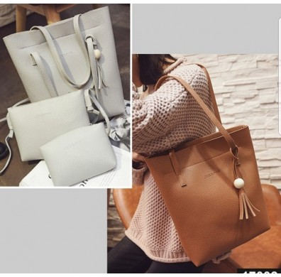 3PCS Premium Soft Leather Bags Value Set - Tote Bag + Crossbody + Purse
