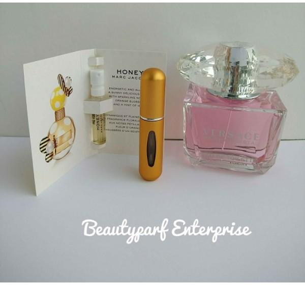 Perfume Refill Kenya: Versace Bright Crystal Women In 5ml EDT Refillable Spray + Free MJ Honey 1.2ml EDP Spray