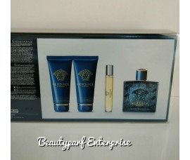 VERSACE EROS 100ML EDT SPRAY + 100ML SHOWER GEL + 100ML AFTERSHAVE BALM + 10ML EDT SPRAY