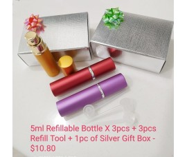 Refillable 5ml X 3 Bottle With Silver Gift Box